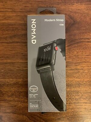 Leather Nomad Modern Strap For Apple Watch 42mm 44mm Black NEW Band!