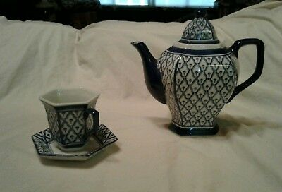 Antique Blue & White Porcelain Teapot and Cup And Plate Set, Asian