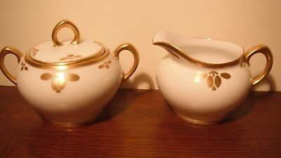 ZS & Co. Art Deco  Porcelain Creamer and Lidded Sugar Bowl