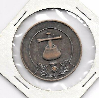 Unusual Vintage Masonic Penny Or Token - Thistle, Triangle - Every Man A Penny