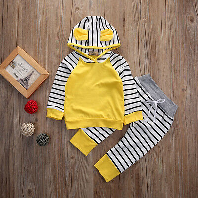 2pcs Newborn Infant Baby Kid Boy Girls Clothes Hooded T-shirt Tops+Pants Outfits