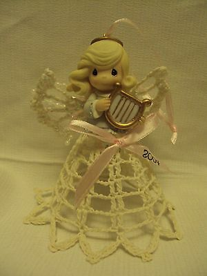 Precious Moments~Angel~Porcelain With Crocheted Wings & Gown 2004