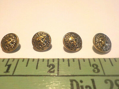 Vintage Brass Lion Head Buttons Set Of 4