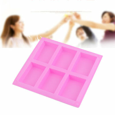Practical Silicone Handmade Soap Mold 6 Holes Rectangular Pastry Molds AR
