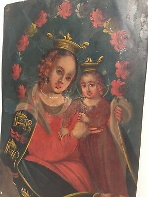 Antique Madonna & Child Gold Painted Retablo on Tin c. 18th - 19th Century