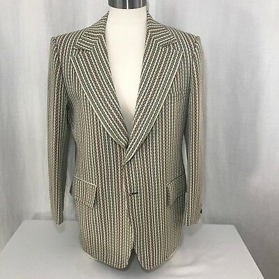 Vtg 70s Cricketeer Striped Blazer Sport Coat 44R Green Brown Harris Frank USA