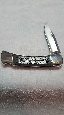 Buck 110  Knife With Spider Web Design Handles & Nickle Silver Bolsters
