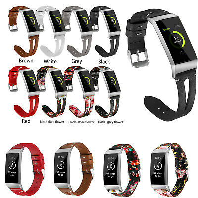 Genuine Leather Strap Wrist Band Bracelet for Fitbit Charge 3 Fitness Tracker