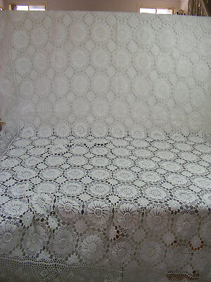 Vintage Large 250 x 120cm White Rectangular Hand Crochet Table Cloth - VGC