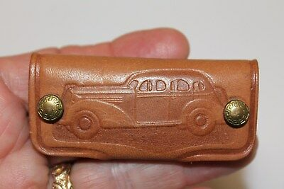 Vintage Leather key holder Deal Motor co N.J.  GM Ford Chevy AMC Cadillac Buick