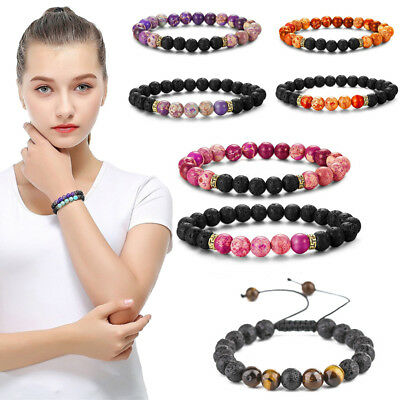 8MM Chakra Healing Balance Beaded Bracelet Stone Yoga Reiki Prayer Pick Bangle