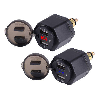 LED Voltmeter Dual USB Charger Power Adapter 2.1A for BMW Motorcycle Hella Plug