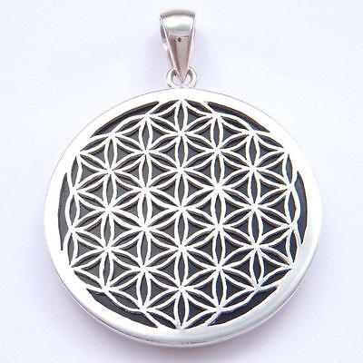Flower of Life Sterling Silver Pendant with Onyx, Sacred Geometry.