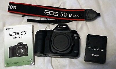 Canon EOS 5D Mark II 21.1MP Digital SLR Camera - Black(Body Only) w/charger/book