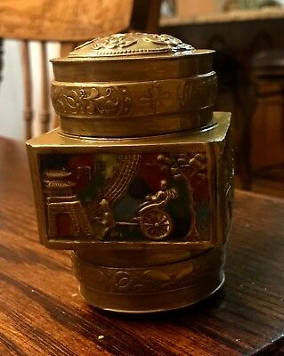 Antique Chinese Cloisonne and Brass Tea Caddy