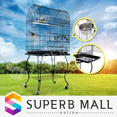 Parrot Aviary Bird Cage Budgie Canary Elegant Dome Top Stand Alone On Wheels