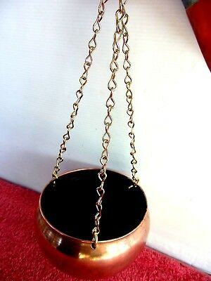 VINTAGE  HANGING  COPPER  BOWL  WITH  CHAIN   33cm. [HANGING LENGTH]