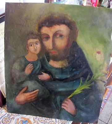 Original Antique Retablo On Tin With Image Of Saint Anthony With Baby Jesus