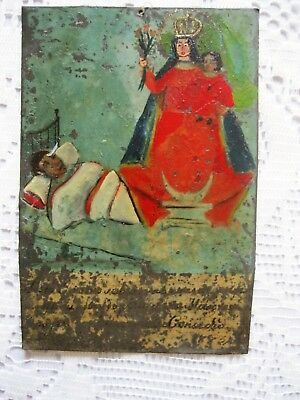 Original Antique Retablo / Exvoto On Tin Man Thanking Our Lady For Favor Receivd