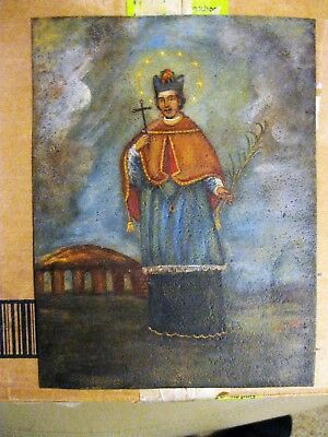 Vintage Original Retablo On Tin Of San Juan Nepomuceno In Great Condition