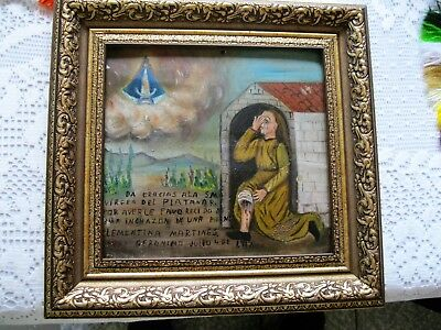 Original Antique Exvoto Woman Thanking Our Lady Del Platanar For Healing Of Leg
