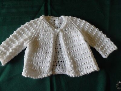 NEW - Hand knitted baby matinee jacket, white 0000 to 000