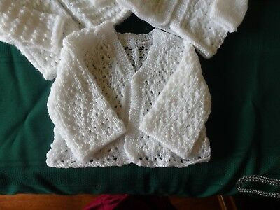 NEW - Hand knitted matinee jacket - white 0000 to 000