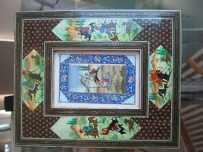 Framed Picture/wall Hanging - Very Ornate Eastern Scene Of Men Riding Horses
