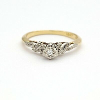 Ladies Ring 18ct (750,18K) Yellow Gold Natural Diamond Antique Style Ring