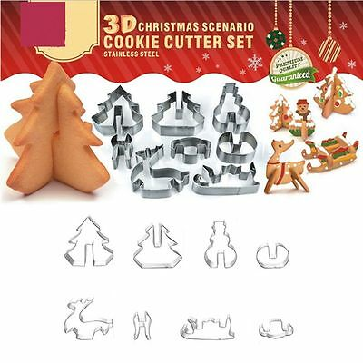 8pcs 3D Christmas Scenario Biscuit Cookie Cake Cutter Set Stainless Steel Gift