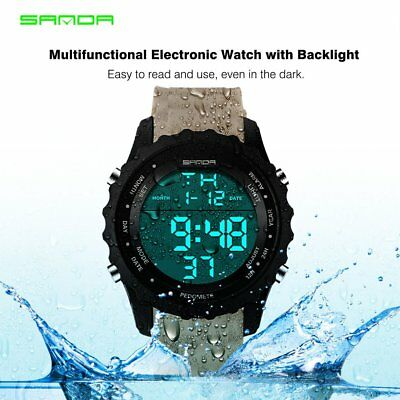 Water-Resistant Multifunctional Men Electronic Sports Watch with LED Backlight C