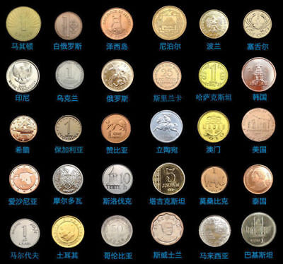 New Set Lot 30 PCS Coins From 30 Different Countries, Most UNC