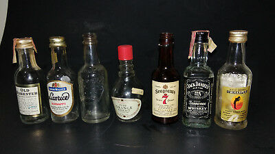 Lot of 7 Small miniature Liqour Bottles With Labels whiskey schnapps