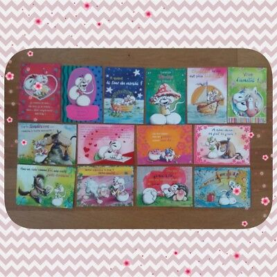 Diddl Diddlina... Lot de 14 cartes postale de collection Brillante et velour TBE