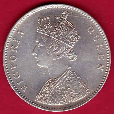 British India -1862 - 0/10 Dots- Vict Queen - One Rupee - Rare Silver Coin #oy15