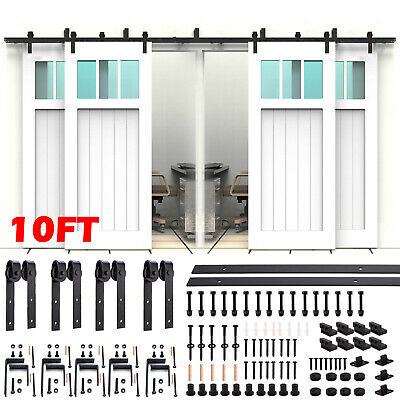 8FT/10FT Sliding Barn Wood Double/Bypass Door Hardware Track Kit Set Spoke Wheel