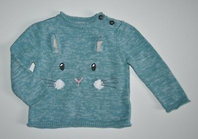 John Lewis Baby Girl Gorgeous Bunny Jumper Sweater 12-18 Months Cotton