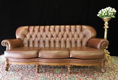 Amazing Vintage Leather French Italian Baroque Chesterfield Lounge Sofa Couch