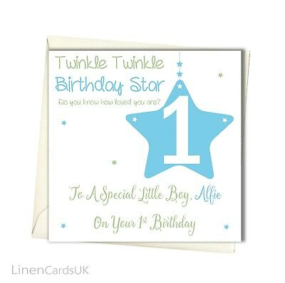 Personalised Boy 1st Birthday Card Godson Son Grandson 1st First