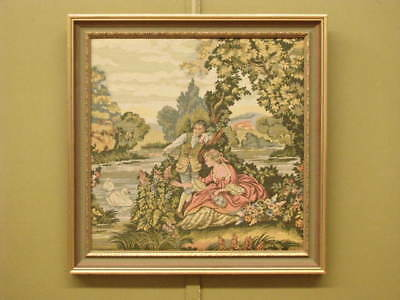French Style Tapestry Picture #1 ~Gilt Detail Frame,period Scene, Suit Antiques