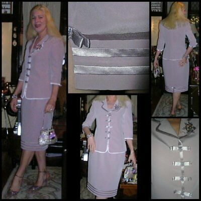 80's mauve satin 3 piece pencil skirt suit by Vicky Mar (made in Australia) MED.