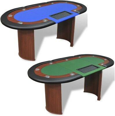 vidaXL 10 Seater Casino Poker Card Table Green/Blue Speed Cloth Cup Holders