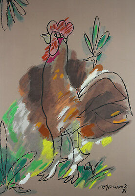 Cuban Master Mariano Rodriguez Gallo Art Serigraphy Rooster Signed On The Plate