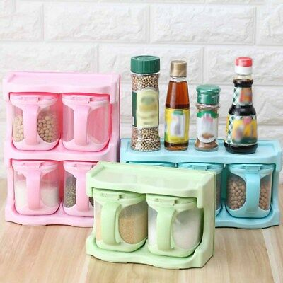 Seasoning Box Storage Container Condiment Spice Salt Sugar Cruet Jar Dispenser