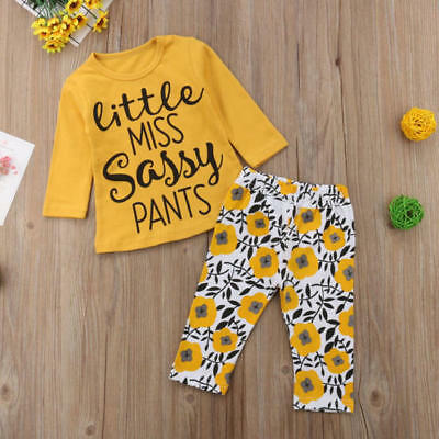 2PCS Toddler Kids Baby Girls Outfits Clothes T-shirt Floral Pants Set Tracksuits