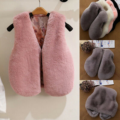 Baby Girl Toddler Winter Faux Fur Waistcoat Thick Warm Solid Vest Jacket Nice