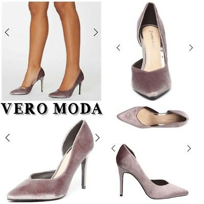 8aca7ee6723 Vero Moda Mink Grey Court Shoes Rrp£45 Dorothy Perkins Size 4 Velvet    Leather