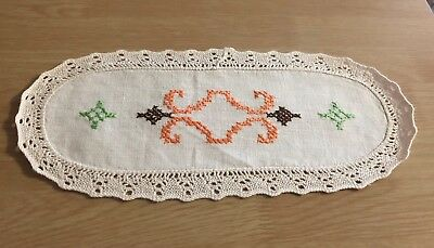 Vintage Oblong Embroidered Doily #2