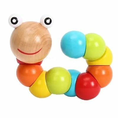 Early Kids Gift Infant Baby Wooden Toy Twist Caterpillar Educational Insect