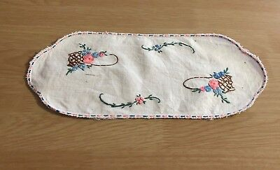 Vintage Oblong Embroidered Doily #3